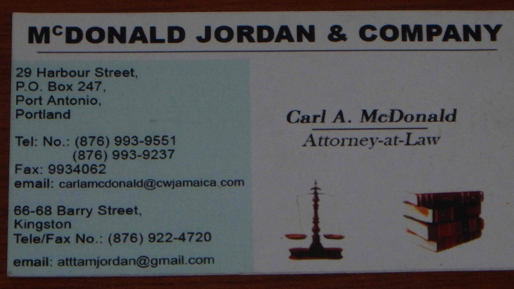 McDonald, Jordan and Company, Attorneys at Law Port Antonio Portland Jamaica